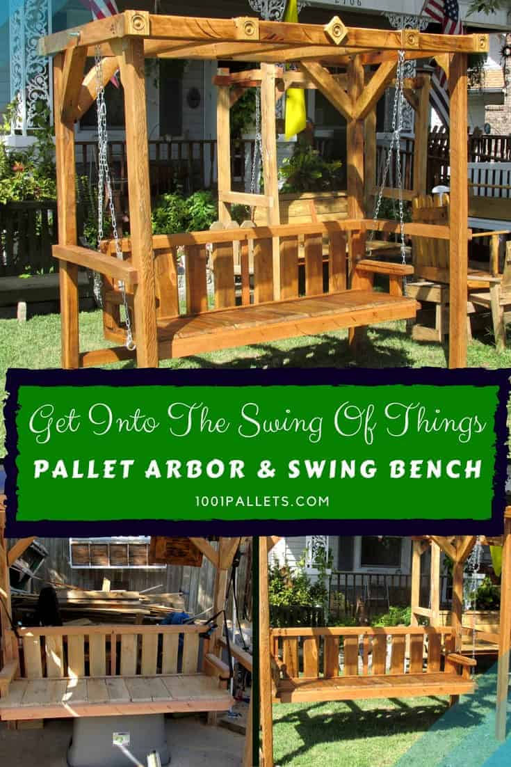 Get into the swing of things with this outstanding Pallet Arbor & swing bench. Swing your stress away or create a romantic outdoor getaway! Enjoy more outdoor living! #awesomearbor #diypalletideas #palletswing #outdoorliving #1001pallets #getbuilding #palletprojects