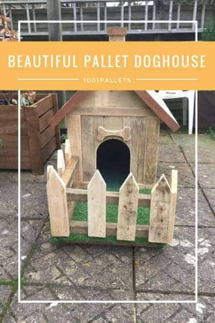 Barkin' Beautiful Pallet Doghouse & Picket Fence