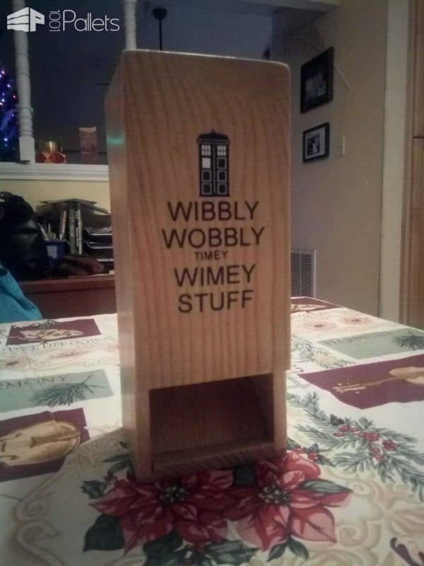 This Pallet Dice Tower was finished off with Mod Podge for the sealant, had a piece of artwork decoupaged onto the front with a Dr. Who theme.