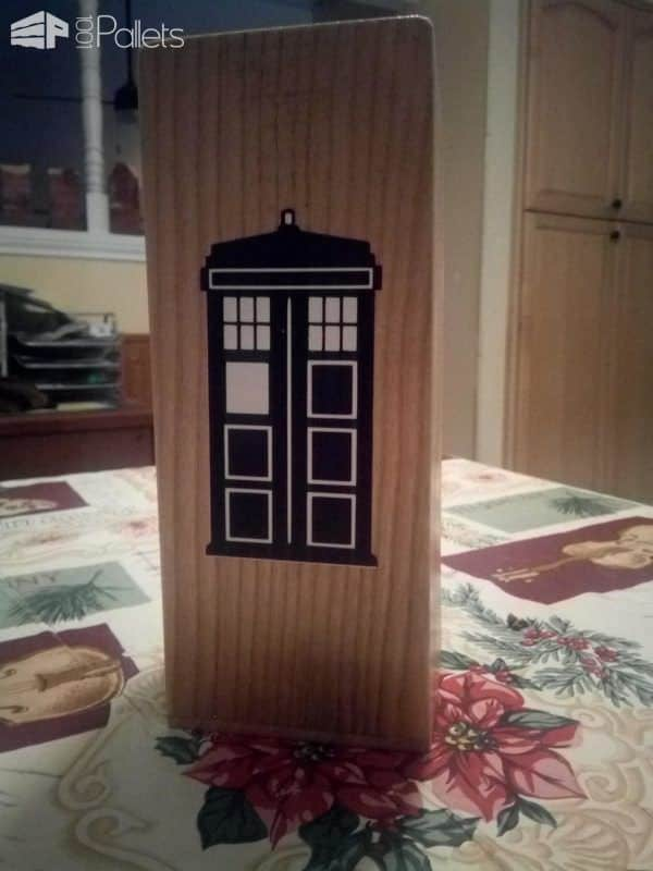 I added more Dr. Who-Themed artwork on the back of this Pallet Dice Tower.