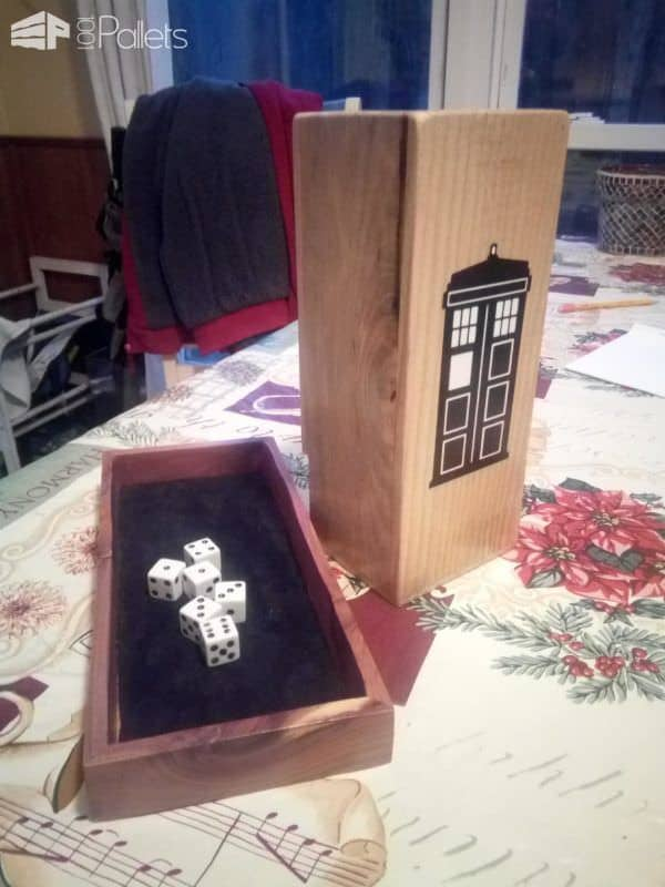This Dr. Who Pallet Dice Tower highlights the natural variegations and beauty of the pallet wood used for the project.