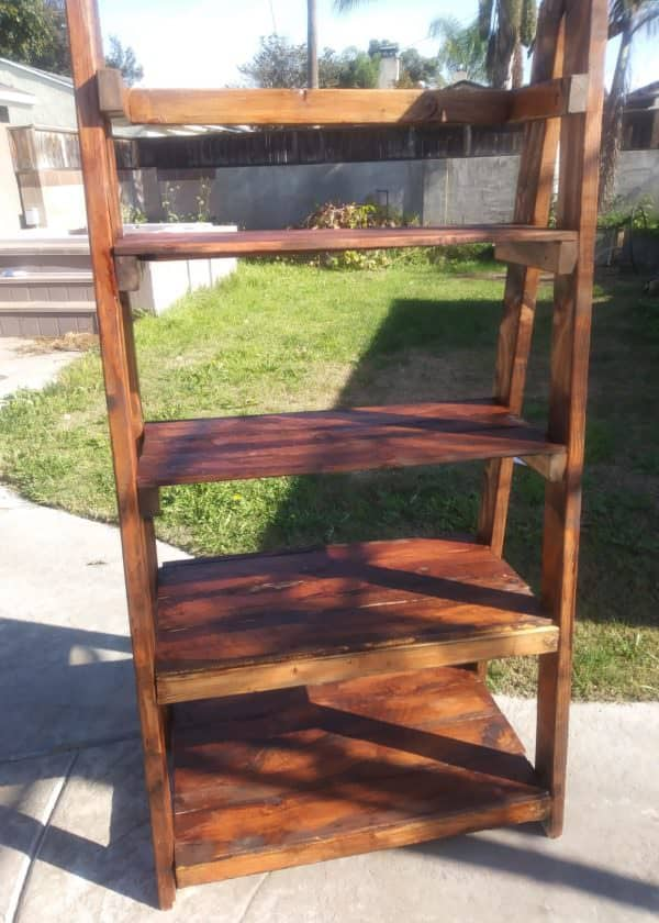 This pallet ladder shelf makes an amazing example of Pallet Furniture Pieces.