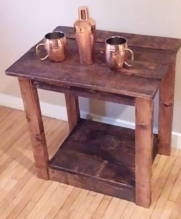 Pallet Furniture Pieces include this Early American stained end table.