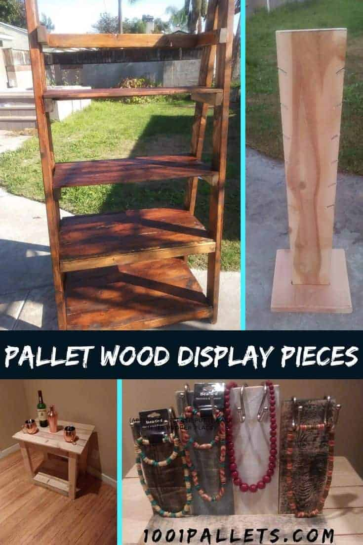 Show off your collectibles with pride when you make your own Pallet Wood Display Pieces. Make ladder shelving, jewelry displays, and end tables! What are you waiting for? You can build these projects! #diypalletideas #palletwood #bookshelf #jewelryholder
