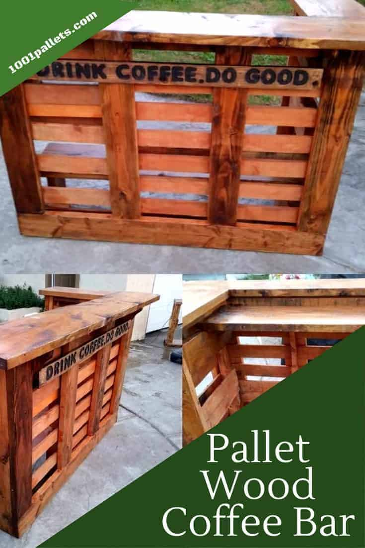 Wake up and have a beautiful place to enjoy your coffee with a custom Pallet Coffee Bar. Or use it for your adult beverages too. Have a handmade place to host those outdoor parties! #palletbar #coffeebar #woodworking #diypalletprojects #outdoorfun