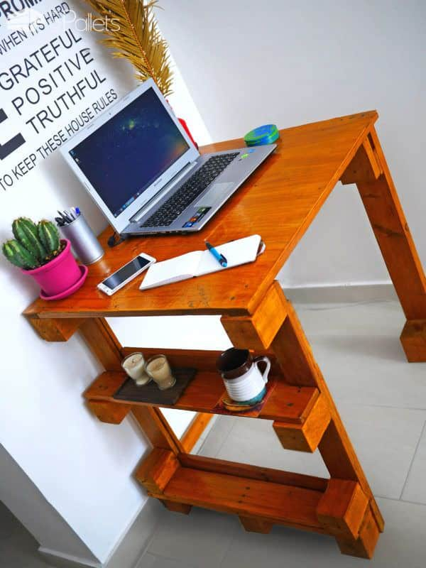 This Easy Pallet Desk has two exterior shelves for handy storage of your coffee, tea, or anything you don't want to spill on your work.