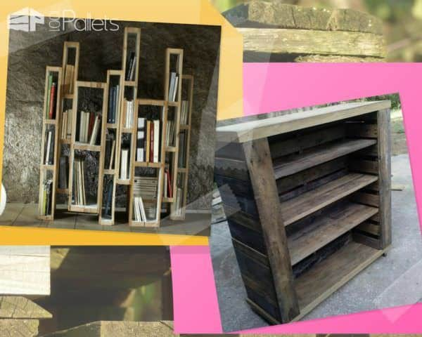 Recycle Old Pallets into unique bookcases for any room of the house.