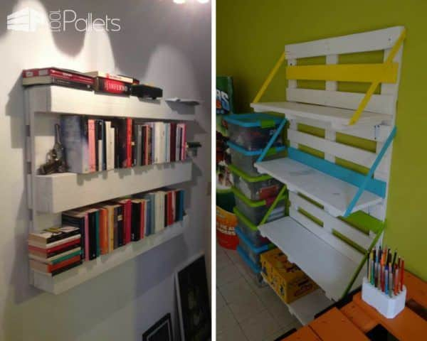 Recycle Old Pallets into handy hanging shelving units for any room of the home.