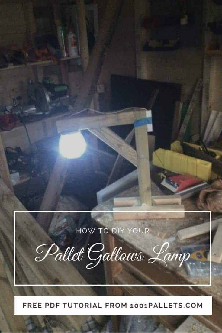 If you've got an hour, you can build this Pallet Gallows Desk Lamp. Download our FREE PDF Tutorial and create the perfect gift for someone with dark humor. #pallet #woodworking #lamp #light #tutorial #pdf #recycled