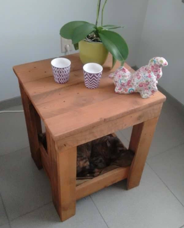 The warm color on this Pallet Side Table was created using brewed tea followed by a steel wool/vinegar wash.
