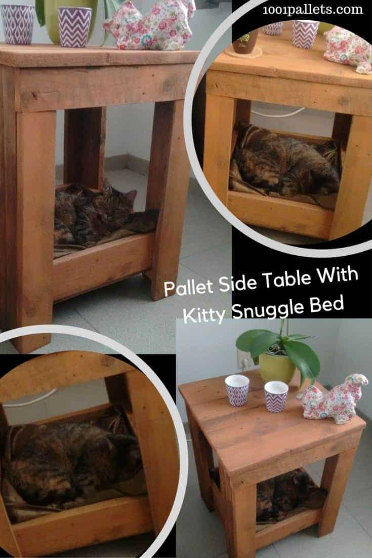They're naughty and they love it. Give kitty her own snuggling spot that won't knock over your beer! Build a pallet side table with a built-in kitty bed box underneath and you all will be happy! #safebeer #catbed #palletsidetable #happykitty #pallets #woodworking