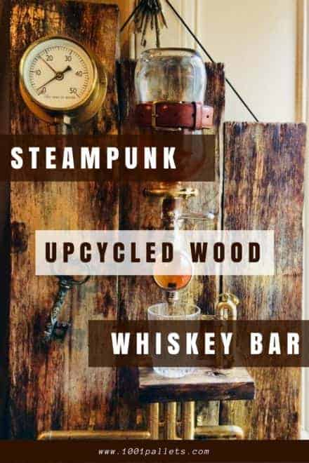 Portable Steampunk Upcycled Wood Whiskey Bar.