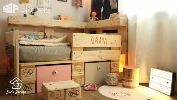 Romantic Toddler Bed with Pallets DIY Pallet Bed, Pallet Headboard & FrameDIY Pallet FurnitureFun Pallet Crafts for Kids