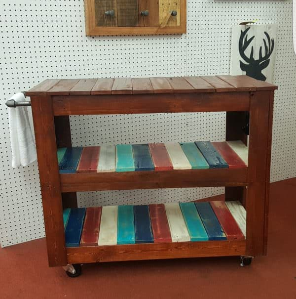 Rustic Mobile, Multicolored Pallet Bar Or Pallet Table! Pallet Bars Pallet Desks & Pallet Tables Pallet Furniture