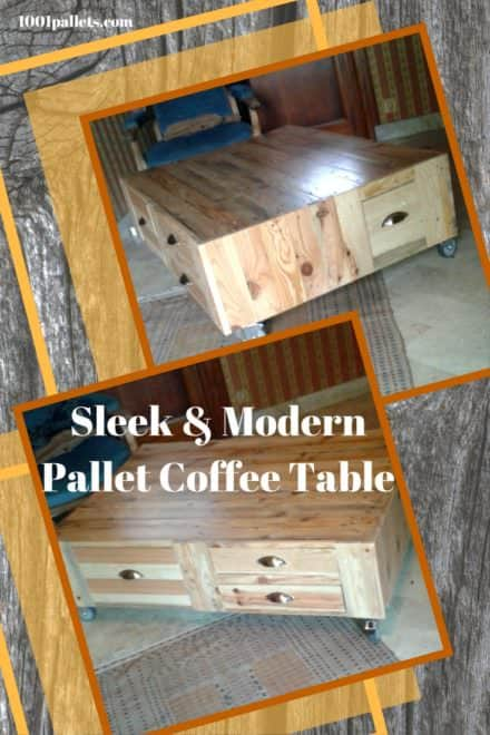 Sleek, Modern Pallet Wood Coffee Table On Wheels