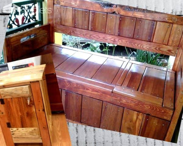 Recycle Old Pallets into storage solutions for any room of the house and outdoor spaces.