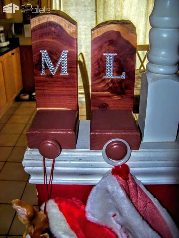 Use wooden knobs to hang your stockings. They're perfect on your Pallet Wood Stocking Hangers.