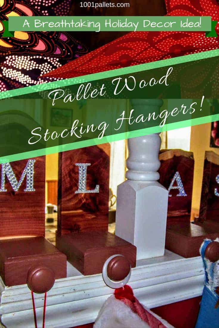 Beautiful Upcycled Pallet Wood Stocking Hangers feature live-edge Cedarwood pieces. #pallets #diy #hanger #woodworking #recycled