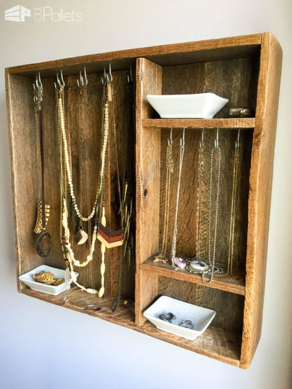 Use simple cup hooks or longer hooks that your like to make this Pallet Wood Jewelry Box.