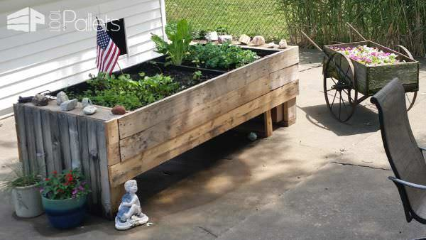This Pallet Wood Garden Planter provides several square feet of gardening space for large yields of delicious vegetables and herbs.