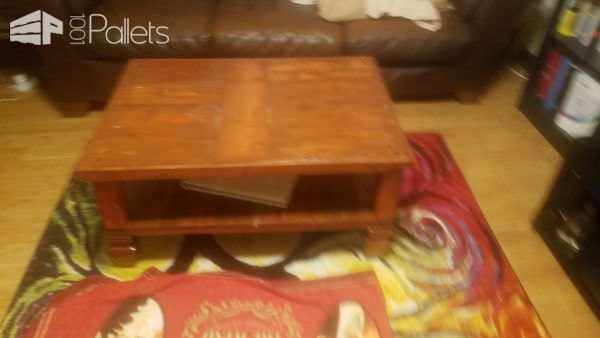 Wine Cork Pallet Coffee Table uses pre-fab furniture feet purchased at a local hardware store.
