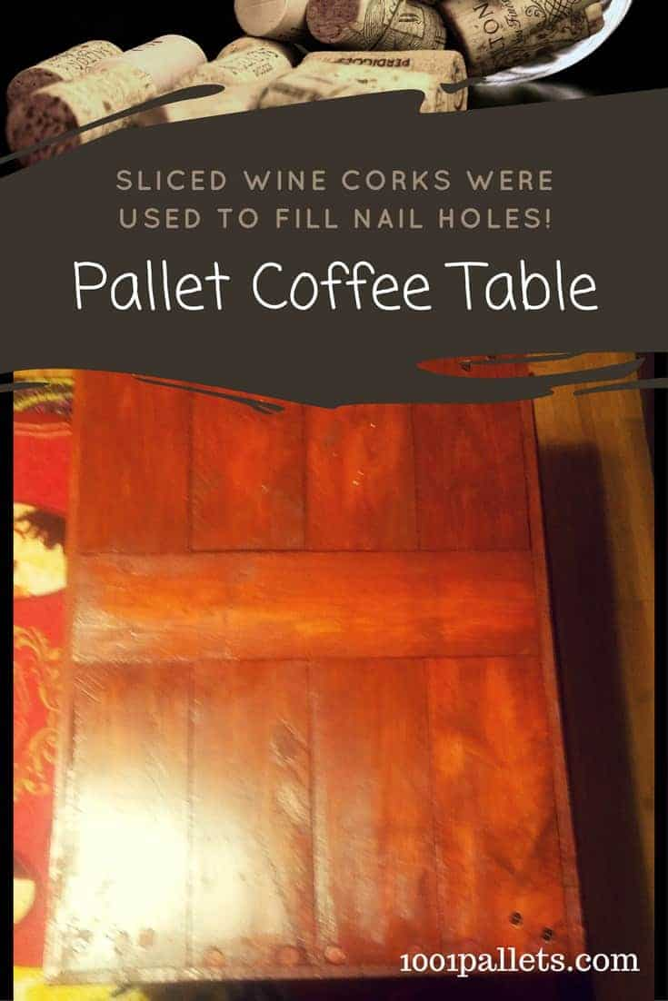 Here's a unique way to fill the nail holes on pallet wood - use sliced wine corks! This technique adds subtle character to an already interesting rustic surface. Upcycle materials creatively! #winecork #palletwood #diypalletideas #pallettable #woodworking #pallets #coffeetable