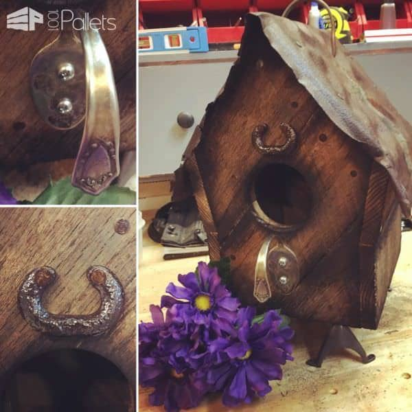 The old nails in the pallet wood, the tarnish on the metal accents and the worn tin add to the rustic charm of this Barn Style Birdhouse.
