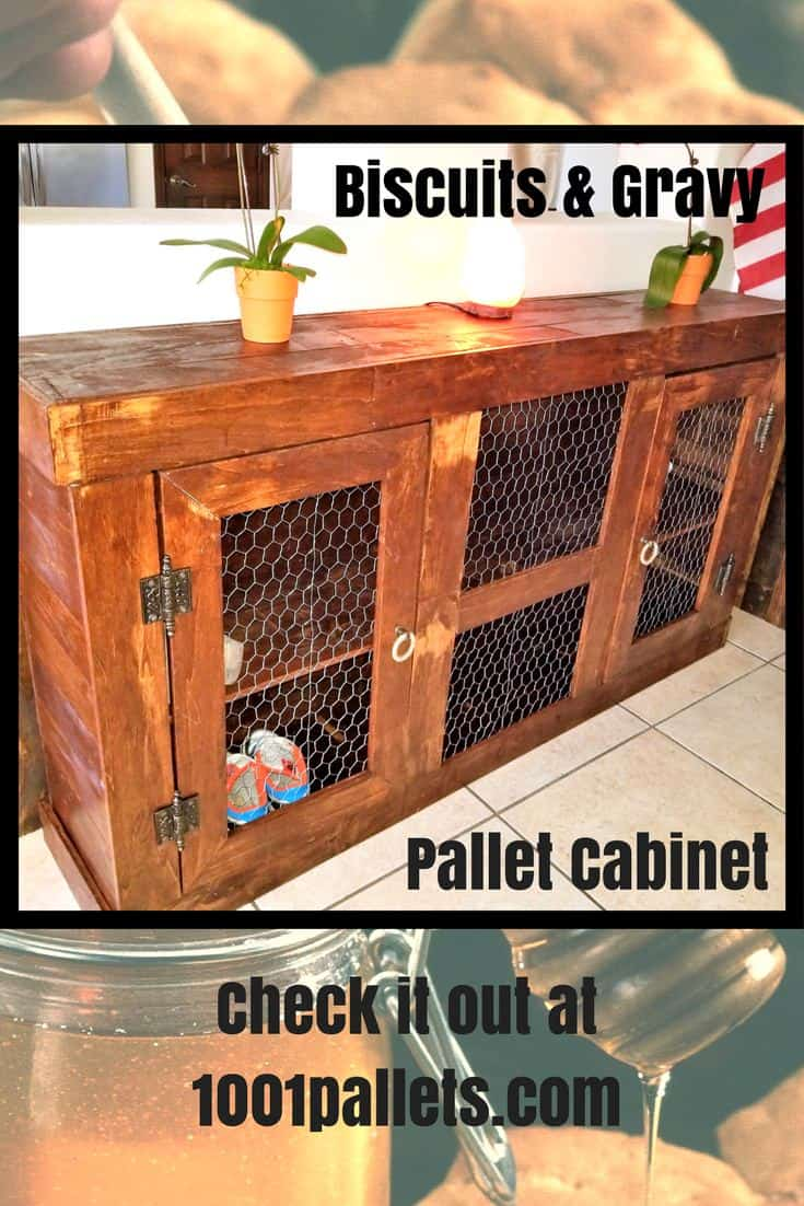 You'll salivate over this Biscuits & Gravy Pallet Cabinet. It features chicken wire doors, plenty of storage, and a warm, rustic style.  Leave it rustic or finish it fine for a touch of refined style. #palletcabinet #biscuitsandgravycabinet