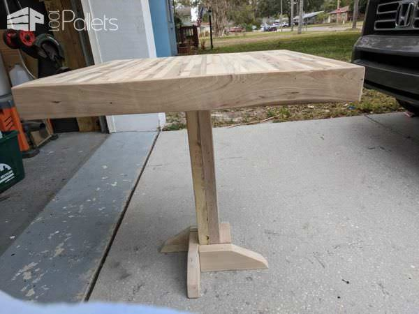 Butcher Block Two-pallet Bistro Table Pallet Desks & Pallet Tables