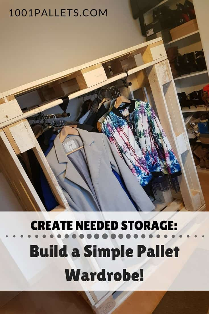 Do you love shopping? Running out of closet space? Then build your own solution - make a Pallet Wardrobe. Add doors and enclose the sides for a permanent idea! Customize it to your needs! #palletwardrobe #diystorageideas #buildityourself