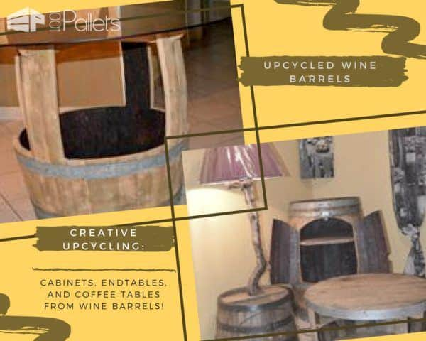 Upcycling can be more than DIY Pallet Furniture! Upcycle old wine barrels into cabinets, tables, side tables and more.