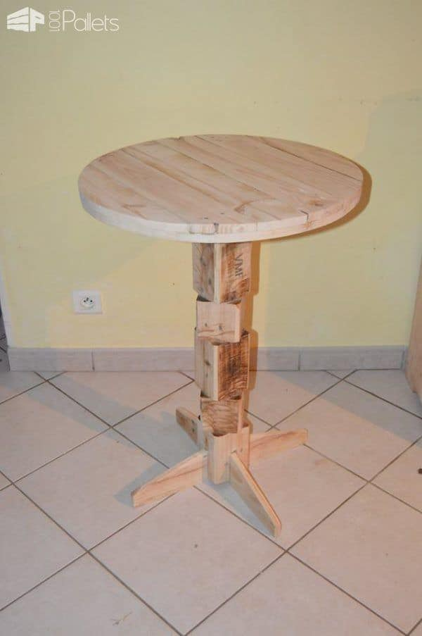 a pedestal side table made from old pallet blocks is another attractive idea for making your own DIY Pallet Furniture.