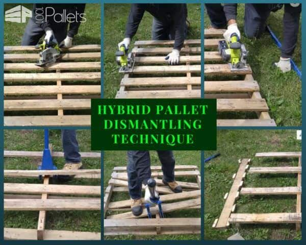 Dismantle Wood pallets quickly with this hybrid technique that uses both a pallet buster and a circular saw.