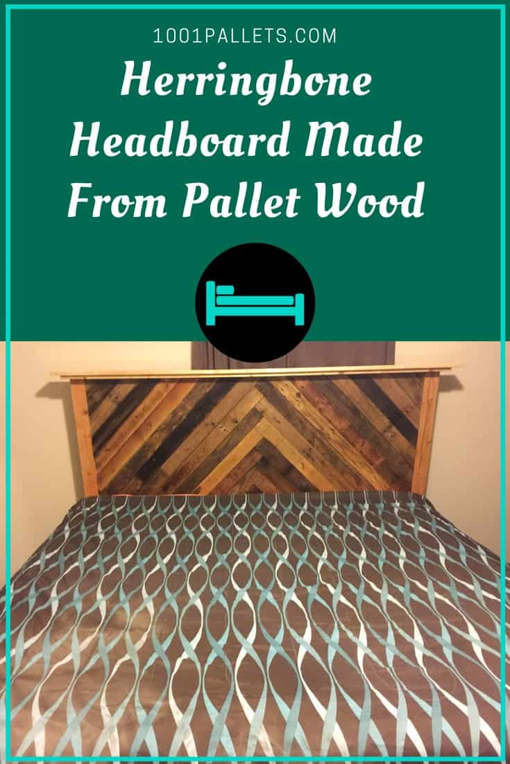Diy pallet wood herringbone headboard 1001 pallets - Post office bureau de change buy back ...