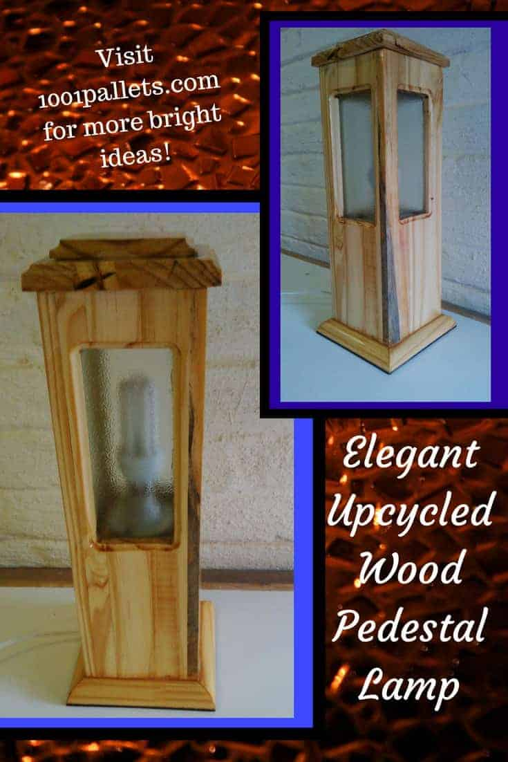 This Upcycled Wood Pedestal Lamp is a bright idea, indeed! The elegant lines and frosted glass, along with a retro porcelain lamp base give this piece a unique look. Protect with stone sealer and display it proudly! #palletlamp #lightitup