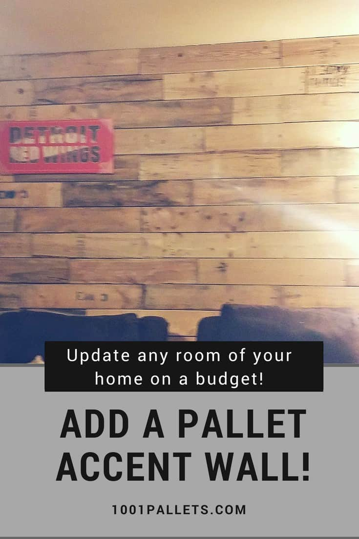 Add color, texture, & warmth with a Pallet Wood Accent Wall! Leave the wood rustic or plane it for a more refined look. Attach with nails or create a frame for the wood to be mounted to without a lot of holes in the walls. #diypalletwall