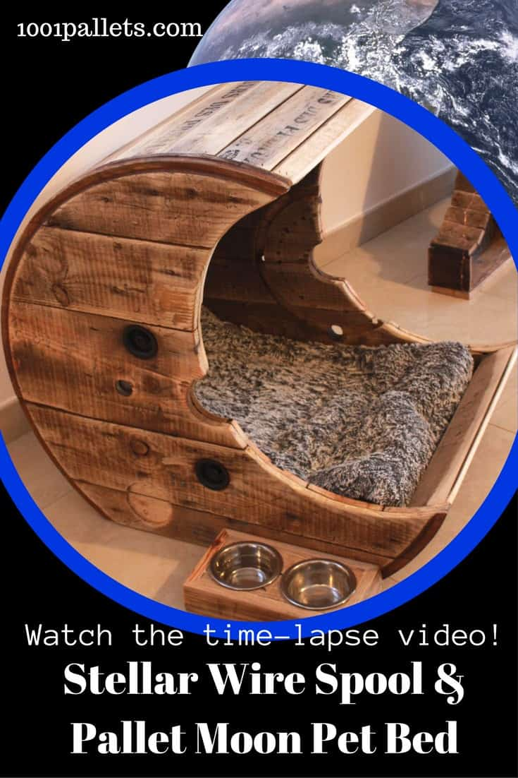 Create the ultimate Wire SPool & Pallet Moon Pet Bed for your four-legged prince or princess. Don't look at boring, ugly pet beds any longer, & save money, too! Watch the time-lapse video and see how to make one for your critters! #palletbed