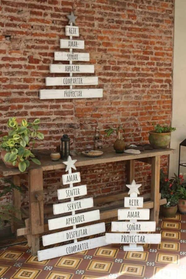 Pallet Holiday Trees are perfect for indoors or outdoor holiday decor.