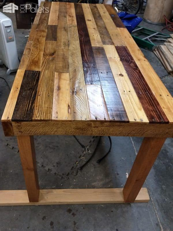 I planed the wood but kept some of the old sawmill marks on this Pallet Dining Table.