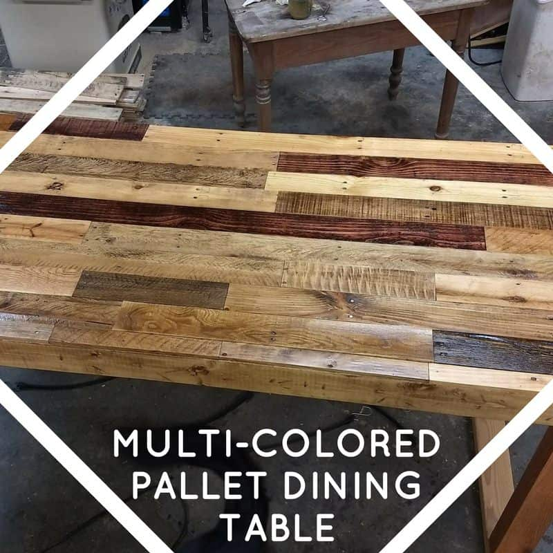 dining room table made from pallets | Multi-colored Pallet Dining Room Table • 1001 Pallets