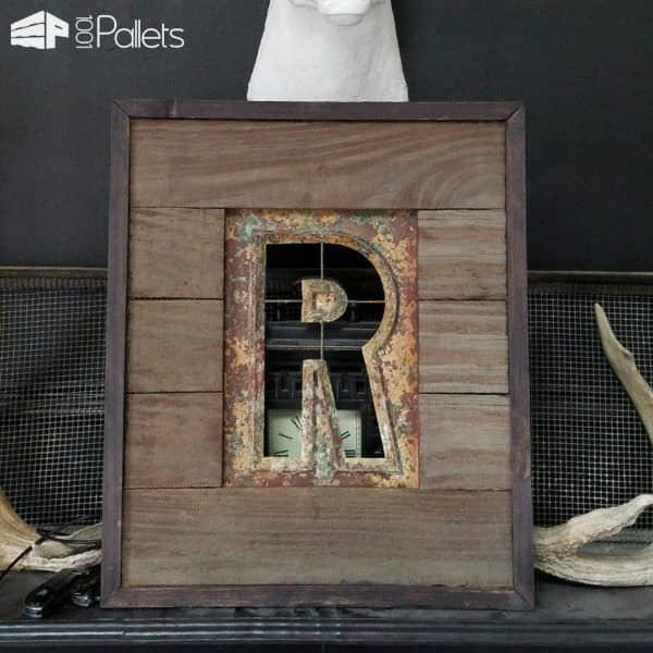This Pallet-framed Stencil features pallet wood, scrap cedar, and a beautiful metal stencil.