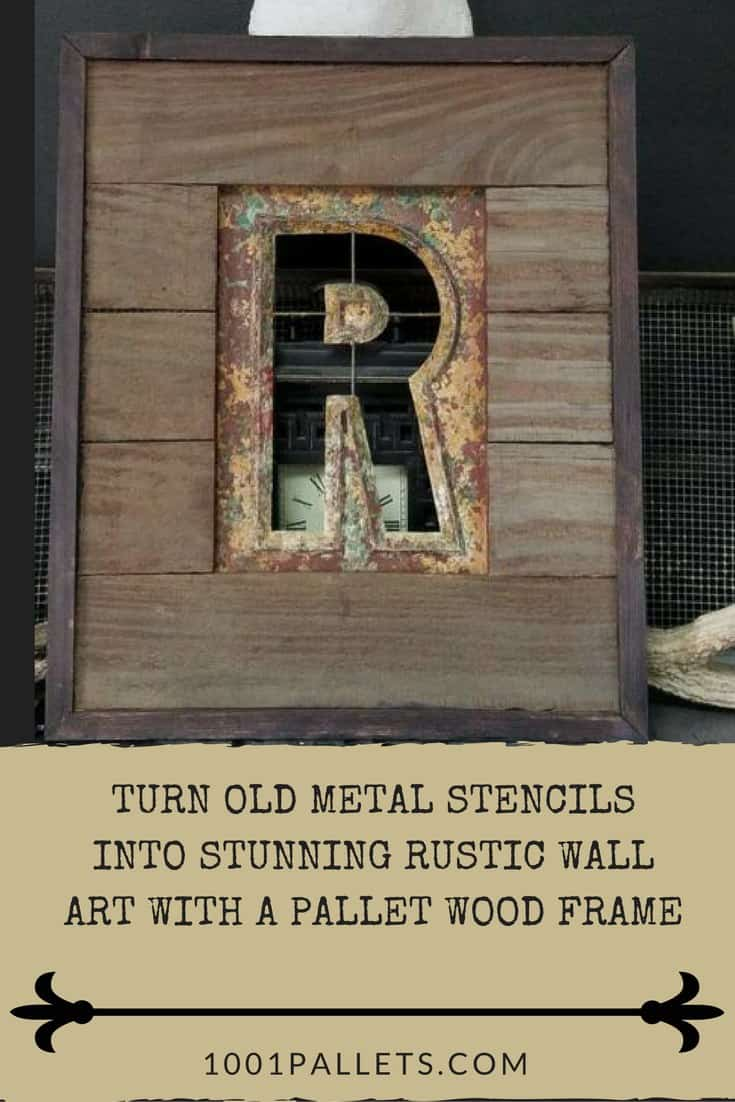 Turn old rusty stencils into stunning pallet-framed metal stencil wall art! This project is framed in cedar and highlights the natural beauty of the old metal. Use this idea for your man cave or even as a rustic gift for family and friends! #pallet #woodworking #frame #homedécor