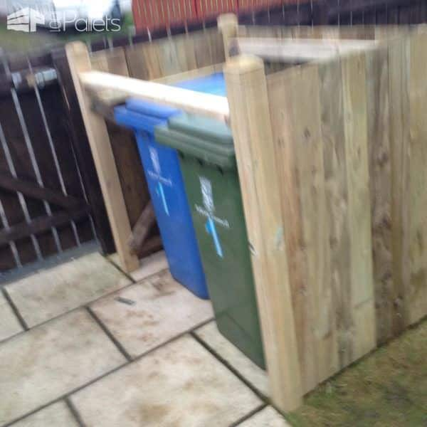 The bins fit well within the Wheelie Bin Shed. I'll finish the doors and hinged top soon.
