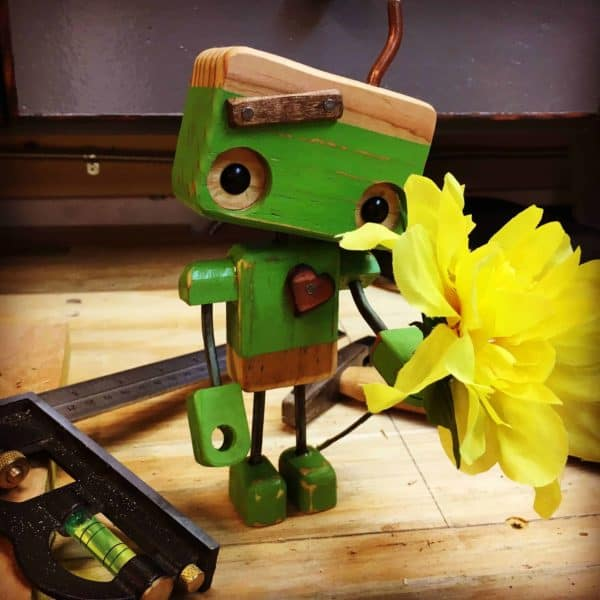 This Pallet Wood Robot is guaranteed to turn frowns upside-down.