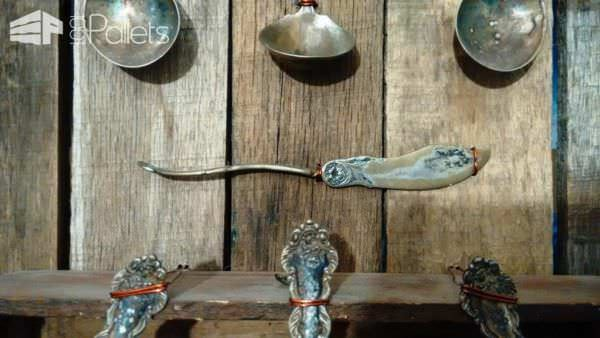 I loved the contrast of the very ornate flatware with the raw salvaged copper wire and the tarnished metal against the Pallet Wood Wall Display.