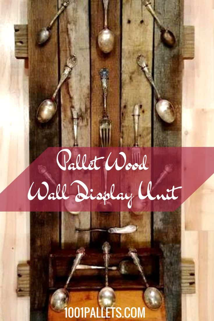 Victorian-era spoons are shown off when mounted on a custom-made Pallet Wood Wall Display unit. This project is easy to make & can be adapted to many collections you want to hang up with pride. #pallethomedecor #diypalletideas #spoondisplay