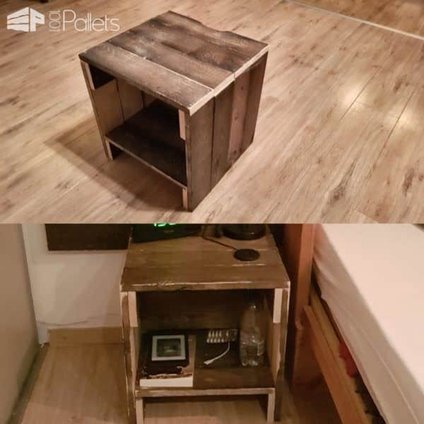 Rustic Pallet Nightstand With Handy Cord Notch Pallet Desks & Pallet Tables