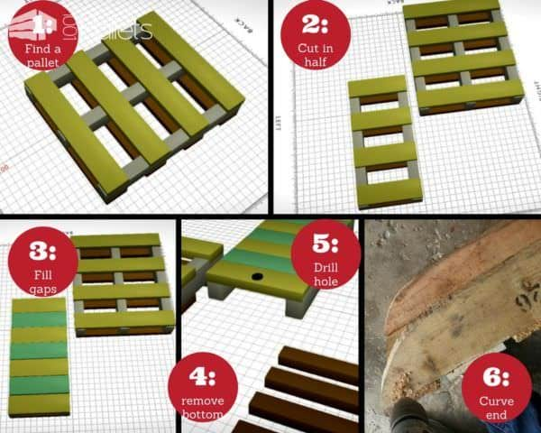 To make one of these Pallet Sleds: Quickly turn one pallet into a 1/2 pallet sled. 1. Find a pallet! 2. Cut the pallet in half along the center stringer board. 3. Use leftover pallet wood to fill in the gaps on top. 4. Remove the bottom deck boards. 5. Drill a hole for a tow rope. 6. Curve the ends. Sand it to avoid splinters, and optionally, apply ski wax along the stringer boards.