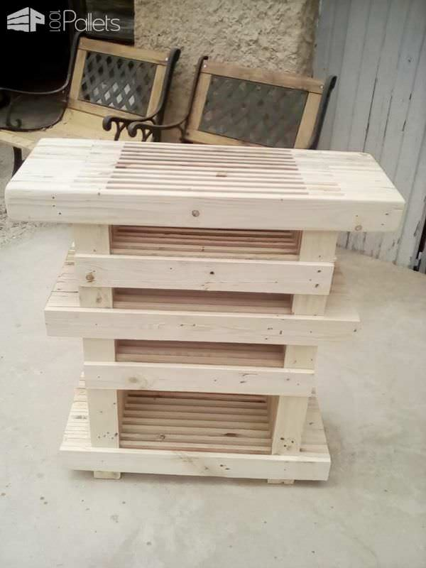 Leave the Pallet Strips TV Stand natural and just seal it or stain it too.