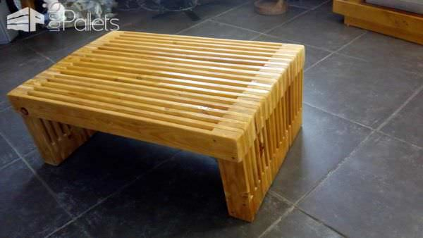 Pallet Strips TV Stand, coffee table, and more can be stained or left natural.